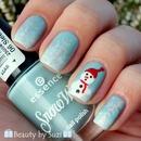 Christmas nail art: Snowman & snowflakes