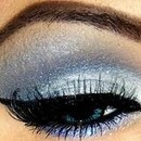 Shiny blue eye makeup