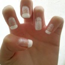 Classic French Tips with glitter:D