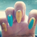 Yellow Turquoise Nails