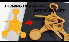 "Turning Digital Art into Paper Art - Ep.1 ""Council of Ricks Badge"""