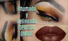RETO: Ahumado y Delineador OPUESTO  / Reverse Ombré Smokey Eye makeup  Tutorial  auroramakeup
