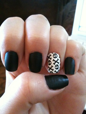 """OPI """"Goth Mini"""" Obscure [one of my faves] Sally Hansen Salon Effects Skull and Crossbones"""