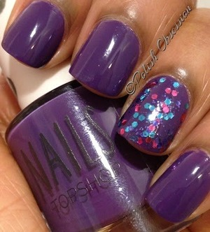 Accent nail is OPI Polka.com http://www.polish-obsession.com/2013/05/top-shop-late-show.html