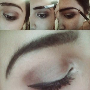 1st) outline eyebrow  2nd) Blend in the two top lines 3rd) Extend eyebrow tail  4th) Clean up with Concealer