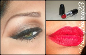 Using Velour Lashes in TDotOhh. All M.A.C. E/S in Orange, Embark & Naked Lunch. Paired with Ruby Lipstick.