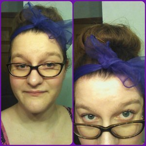 "I am a very happy camper! My hair is long enough to make a ""sock"" bun or whatever you call them. Late on the trend, but who cares! ;P I also found some random scarves of various colors in my room. How did they get there? I don't know, but I shall use them! Hair goal accomplished! ;D"