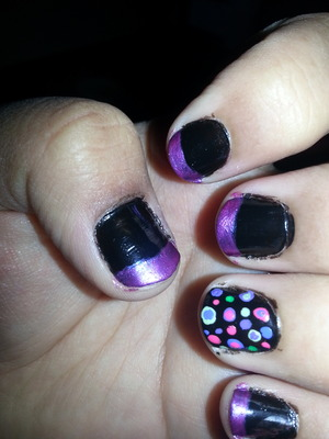 Very Colorful French Tip With A Polka Dot Accent Nail