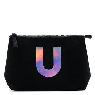 Holographic Foil Initial Makeup Bag Letter U