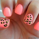 Pink Cheetah Nails