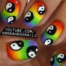 Rainbow Yin Yang Nail Art