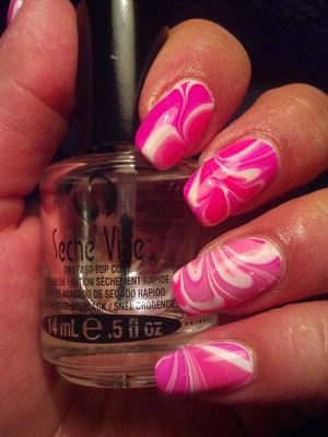 Pink and White Water Marble