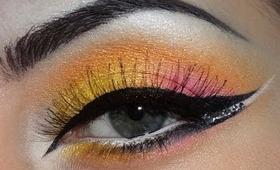 Yellow, pink, orange makeup