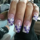 French tips with purple petals