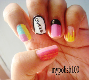 This mani is inspired by Hayley Williams outfit in the video!!! http://mypolish100.blogspot.in/2013/06/paramore-still-into-you-inspired-nails.html