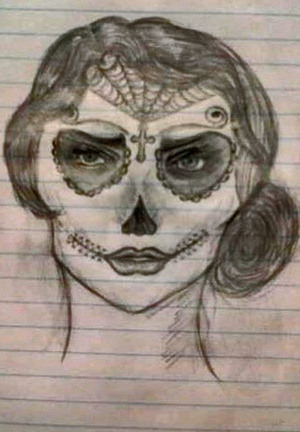 I drew this sugar skull while I was at work, I'm not the best artist, but I seem to be doing ok with skulls.