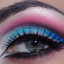 White, blue, pink cut crease