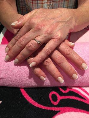 Wedding nails, french polish, CND Shellac, stamping, Pearls 💕