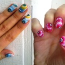 Colorful flowers nails