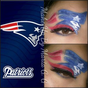 used NYX white base and my coastal scents pallette football patriots