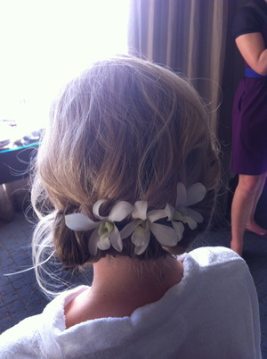 Soft Curls twisted into a messy Bridal Updo-by Chelsea Reeds
