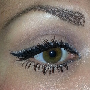 Winged liner with glitter.