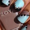 Nail art using Revlon Waterfall and Zoya Jana