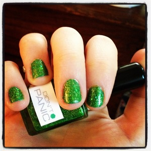 Don't Panic nerd lacquer over Chlorophyll occ nail lacquer.
