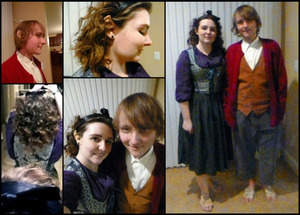 This was the costume and makeup I did on my fiance and I for the release of The Hobbit: Desolation of Smaug. We used Halfling ears from Aradani Costumes, cotton balls (foot hair), pros-aide adhesive, and a few random makeup products. Bodice by Wolf in Sheeps Clothing on Etsy.