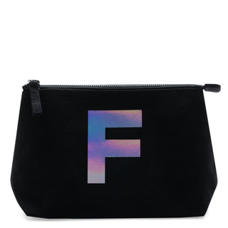 Holographic Foil Initial Makeup Bag Letter F