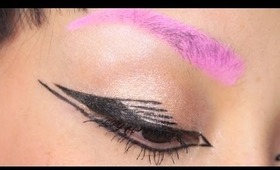 Lady Gaga Inspired Eyeliner & Pink Eyebrows Makeup