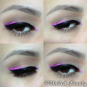 i mix a pink shadow with fic plus from mac to create a liquid pink liner and a soft brown all over the lid and a black liquid liner from NYX