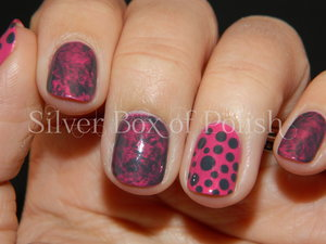 Pink and grey manicure with polka dots and plastic wrap marbling.
