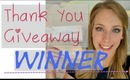 Thank You Giveaway Winner!