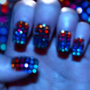 here is a preview of my next look, Rhinestone Rainbow Flag Nails! don't they look bling under the blue light? Tutorial for this look is also on the way stay tuned! GFx