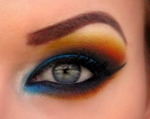 Bright blue with orange and yellow closeup