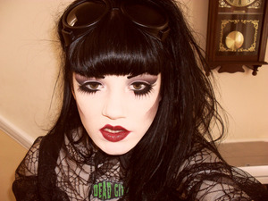 Deathrock inspired make-up, my expression in this photo is very odd, so it's a good thing this website is about make-up! Haha