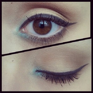 i did my crease with a neutral brown, then my eyeliner using a black eyeshadow and an angled brush and then a pop of blue on my inner corner