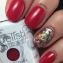 Christmas Gelish Red With Foils