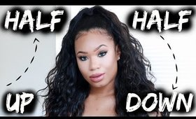 Half Up Half Down Hair Tutorial with Wig (Curly Hair Hairstyle) 10 Minute Sew In! ♥ BeautybyGenecia