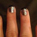 Sparkle & Black tip manicure