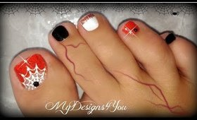 Easy Halloween Toenail Art | Spiderweb ♥