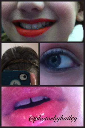 LIPS:red matte  HAIR:headband braid EYE: shimmer shadow; Avon eyeliner in black lashblast mascara  LIPS: clear gloss