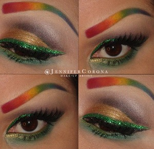EYEBROWS- All color from Sugar Pill, except green and yellow, they are from Ben Nye. GOLD eyeshadow is Goldilux from Sugarpill.  GREEN glitter- Wolfe Brothers The rest of the eye shadows are in the SIO36 Smoke It Out Palette from Crown Brushes