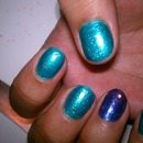 Turquoise Mani with Wisteria Accent Nail