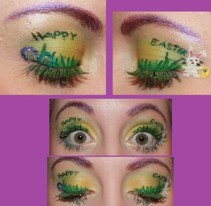 Easter eyes with grass, eggs and bunny