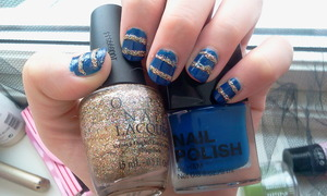 "H&M's Nail polish in ""Something Blue"" + OPI's ""Bring on The Bling"""