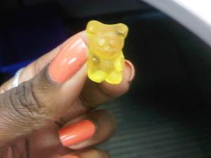 Gummy Bear encounters peachy nails..
