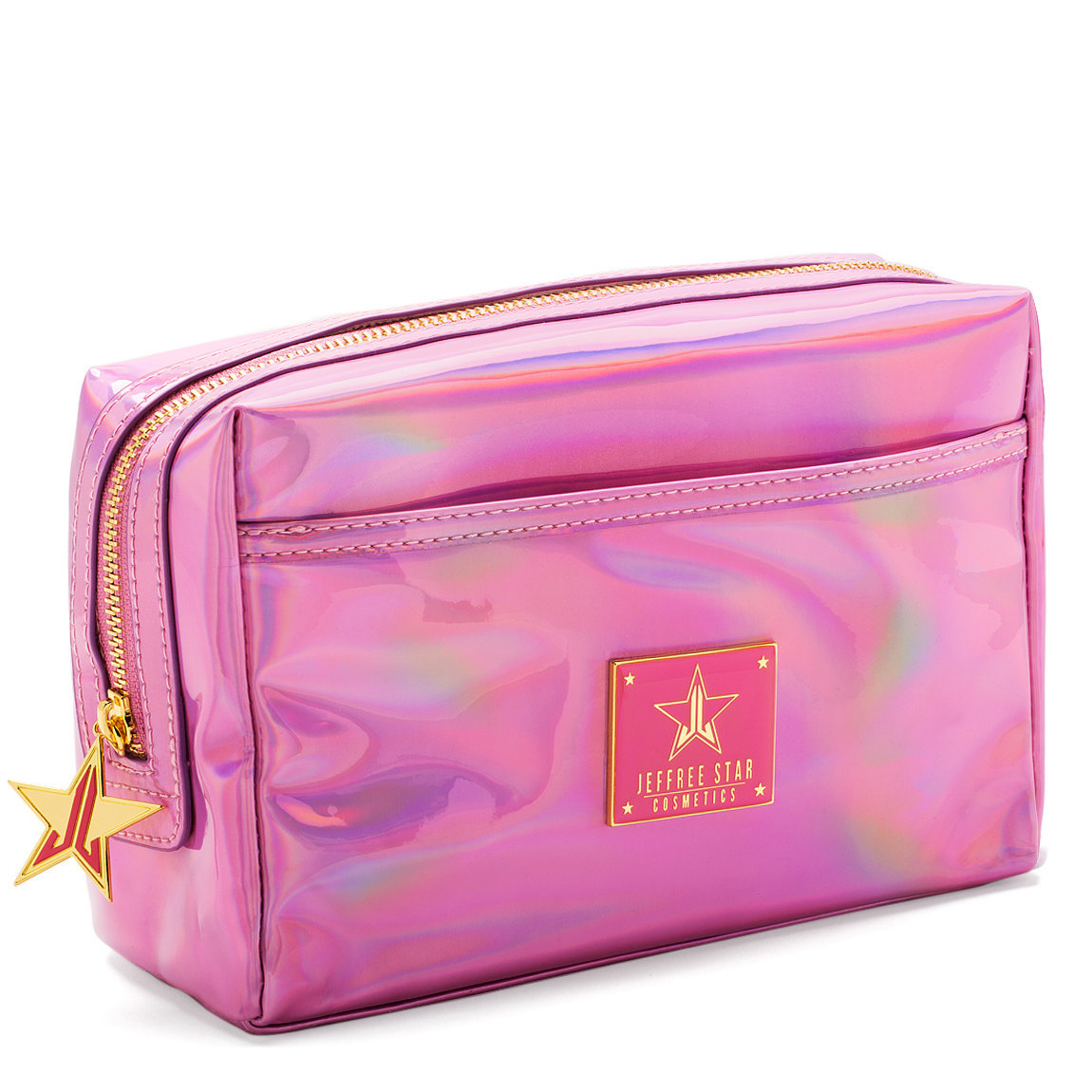 Jeffree Star Cosmetics Holographic Makeup Bag Pink  product smear.