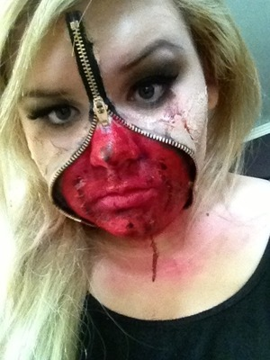Halloween costume zipper face I created(;